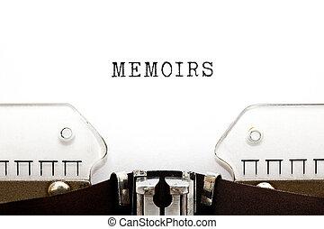 Word Memoirs Typed On Retro Typewriter