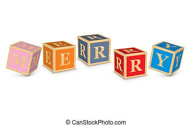 MERRY written with alphabet blocks - vector illustration