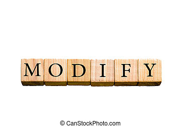 Word MODIFY isolated on white background with copy space - ...
