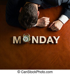 Word Monday and devastated man composition - Word Monday...
