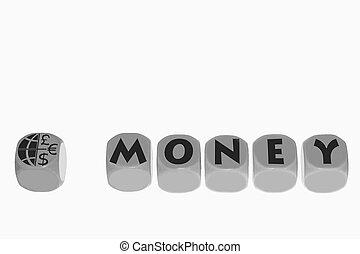 word MONEY on cubes