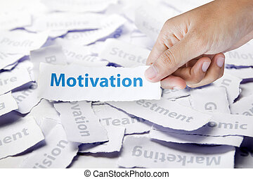Word motivation in hand, business concept