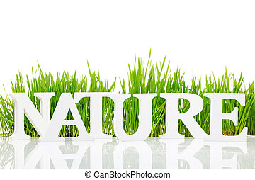 "Word ""Nature"" with fresh grass isolated on white"