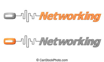 Word Networking Connected to a Mouse - Orange and Grey -...