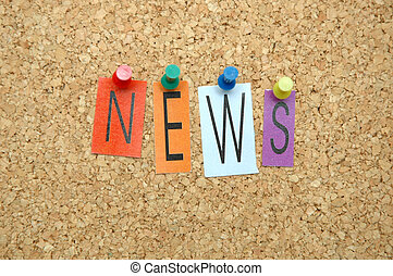 """News - Word """"News """" placed from colourful small letters on ..."""