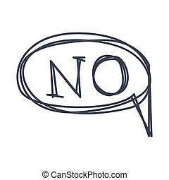 Word No, Hand Drawn Comic Speech Bubble Template, Isolated...