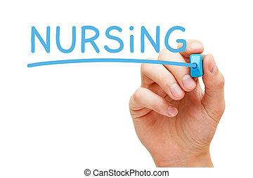 Word Nursing Handwritten With Blue Marker