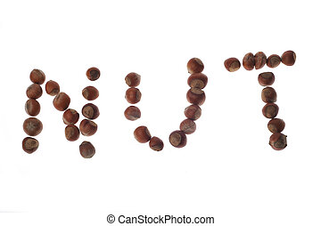 word NUT made from hazelnuts