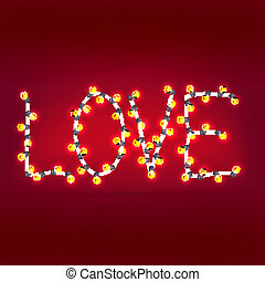 word of love garlands. Vector background. Eps 10