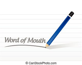 word of mouth message illustration design over a white...
