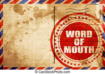 word of mouth, red grunge stamp on an airmail background -...