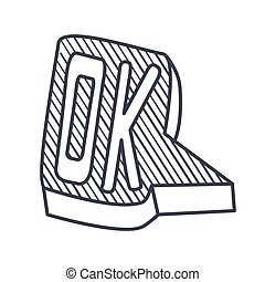 Word Ok, Hand Drawn Comic Speech Bubble Template, Isolated...