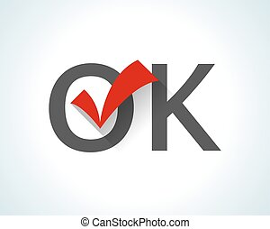 Word OK on white background with  red tick