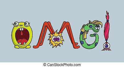 """Word """"OMG"""" stilyzed monster letters. Template for banner,..."""
