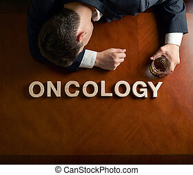 Word Oncology and devastated man composition - Word Oncology...