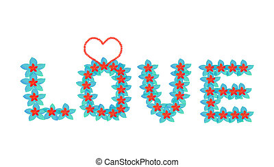 Word or alphabet love in colourful tropical flowers pattern with summer feeling on white background