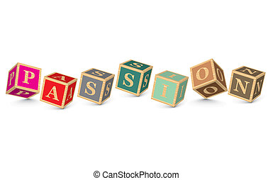 PASSION written with alphabet blocks - vector illustration
