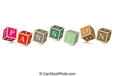 PASSION written with alphabet blocks - vector illustration