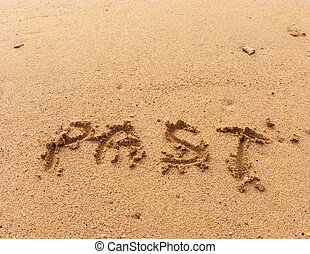 Word Past on the sand