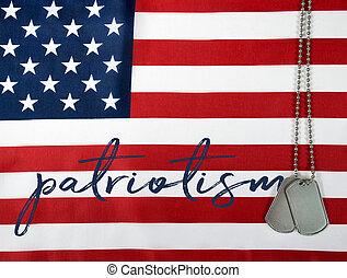 word patriotism on American flag