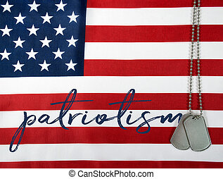word patriotism on American flag