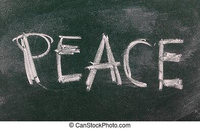 Word peace on chalkboard, blackboard texture
