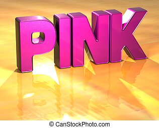 Word Pink on yellow background