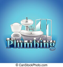 Word plumbing and objects on blue background vector