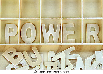 Word power made with wooden letters alphabet