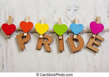 word pride attached rainbow hearts,symbol LGBT