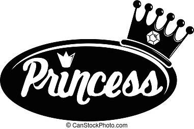 Word princess crown icon, simple black style - Word princess...