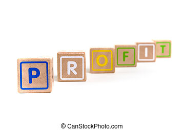 "Word ""Profit"" with colorful blocks and white background"