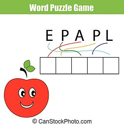 Word puzzle children educational game - Words puzzle...