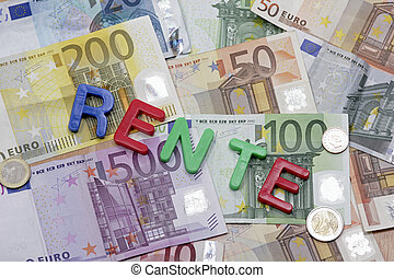 word rente on the money background