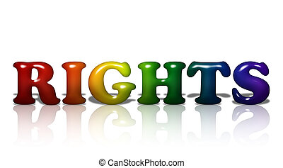 Word Rights in 3D LGBT flag colors isolated on white with copy-space, LGBT Rights