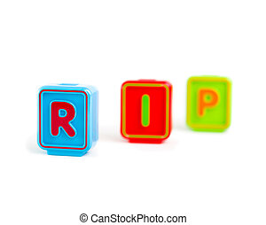 "Word ""RIP"" with colorful blocks and white background"