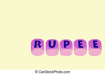 word RUPEE on cubes