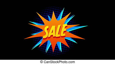Animation of word Sale appearing against orange and blue explosion effect against black screen 4k