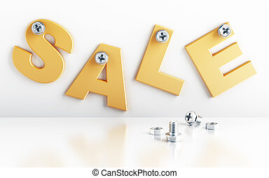 word sale attached with bolts on a white background