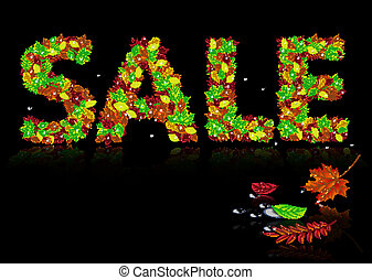 word sale from autumn leaves
