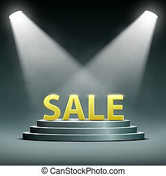 word sale located on the podium and floodlit