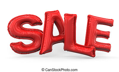 Word SALE made of red inflatable balloons. 3D