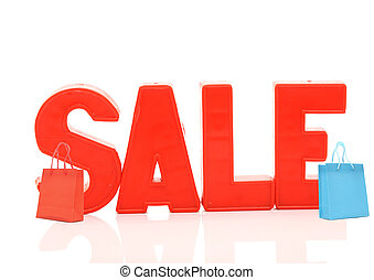 word sale with shopping bags on white