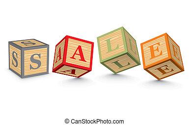 Word SALE written with blocks - SALE written with alphabet...