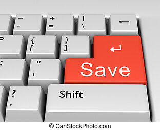 Word Save is written on a computer keyboard. Conceptual image on a computer key Enter