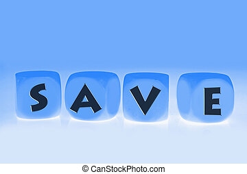 word Save on cubes