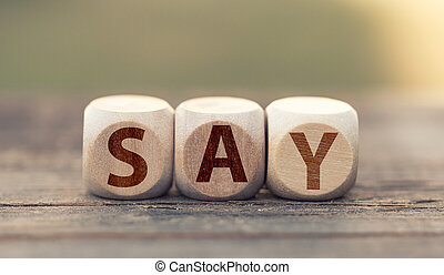 Word say on wooden cubes