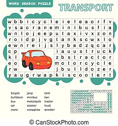 Word search puzzle for children, transport theme, fun education game for kids, preschool worksheet activity, vector illustration