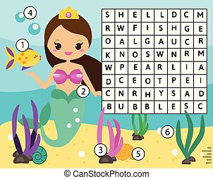 Word search puzzle kids activity. Educational children game for girls. Learning vocabulary. Mermaid world