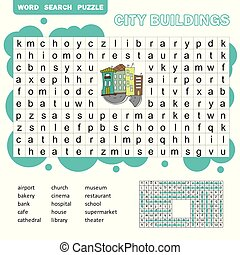 Word search puzzle. Vector game about city buildings. Worksheet for children.